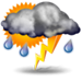 Mostly cloudy with thundershowers